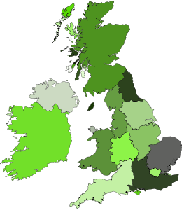 Map of UK and Ireland with regions highlighted