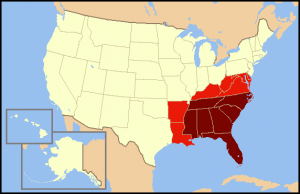 Map of the South of the US