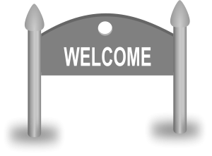 """Welcome"" sign board"