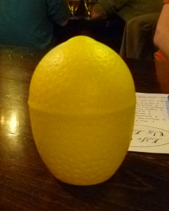 Close-up of plastic yellow lemon