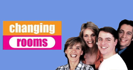 """Changing Rooms"" TV show logo and hosts"