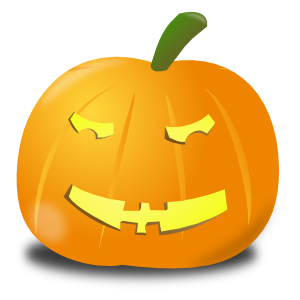A puzzled-looking Hallowe'en pumpkin