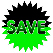 "Green and black ""SAVE"" star logo"