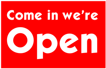 """Come in we're Open"" graphic"