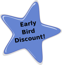 """Early Bird Discount!"" graphic"