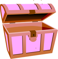 Open pink treasure chest