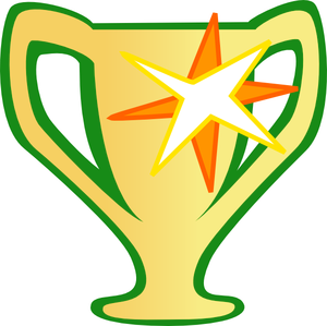 Graphic of a shiny cartoon trophy