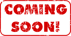 "Red ""Coming Soon!"" ink stamp"