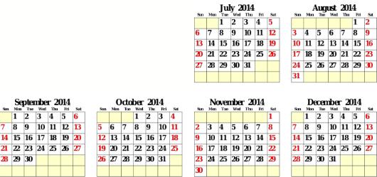 Calendar for second half of 2014